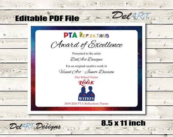 picture regarding Printable Pdf Files known as PTA Reflections Certification 2019-2020, Electronic Printable PDF Documents / Editable PDFs, certification template, Appearance In Concept 8.5x11 inch