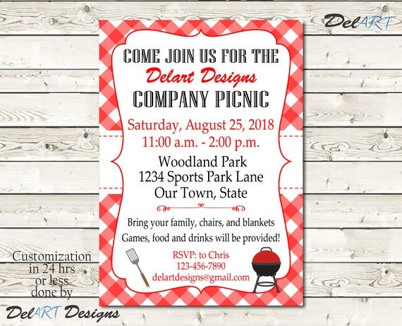 custom picnic invitations company bbq invite church or etsy