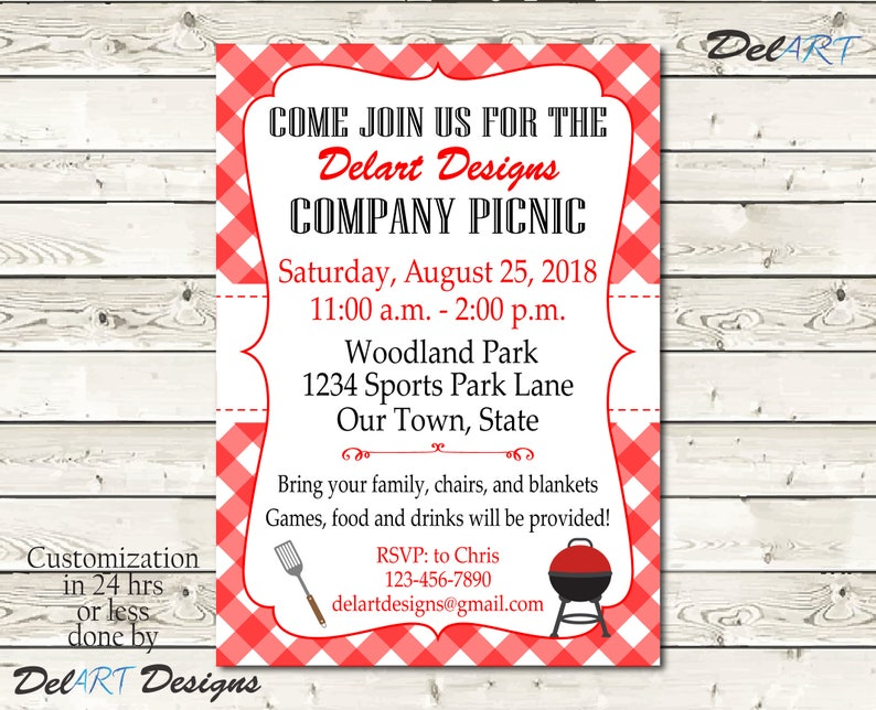 Custom Picnic Invitations Company Bbq Invite Church Or Business Party Printable Digital File After Customization Jpg Or Pdf