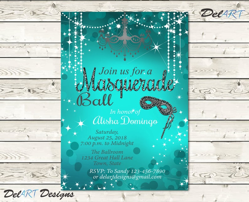 Masquerade Invitation Teal Birthday Party Costume Ball Dance
