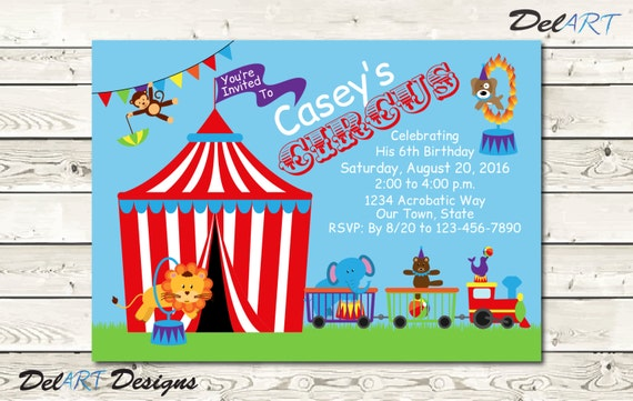 Circus Or Carnival Theme Invitations Or Save The Date Etsy