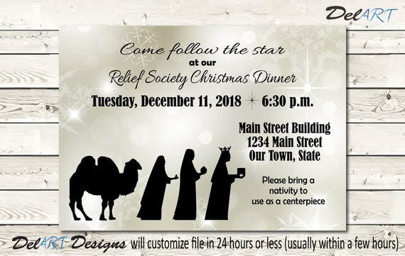 Wise Men Nativity And Christmas Dinner Invitation Or Poster Digital Printable File Church Christmas Party Rs Or Ward Dinner Jpg Or Pdf
