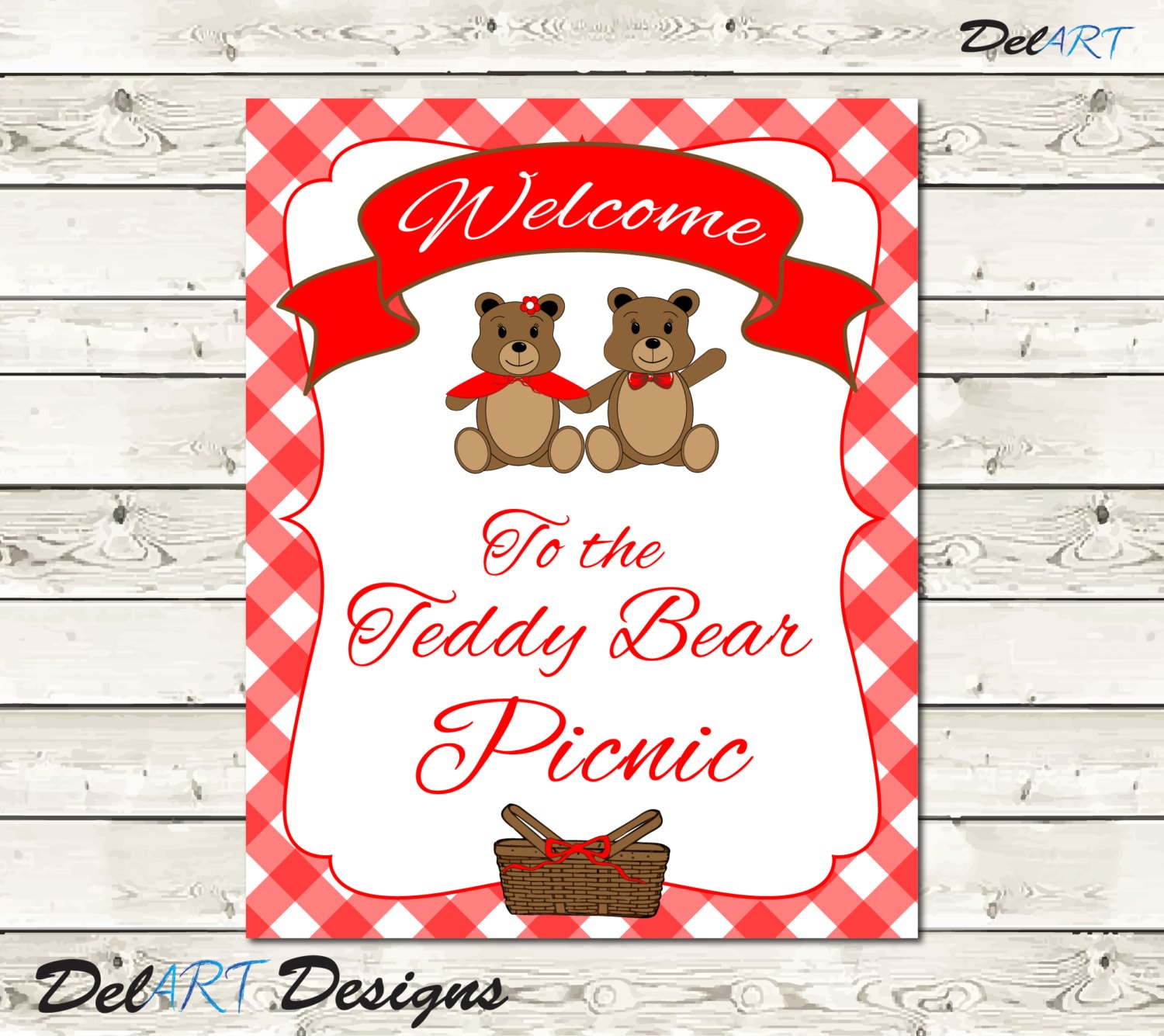 Teddy Bear Picnic Matching Welcome and Happy Birthday Signs   Etsy
