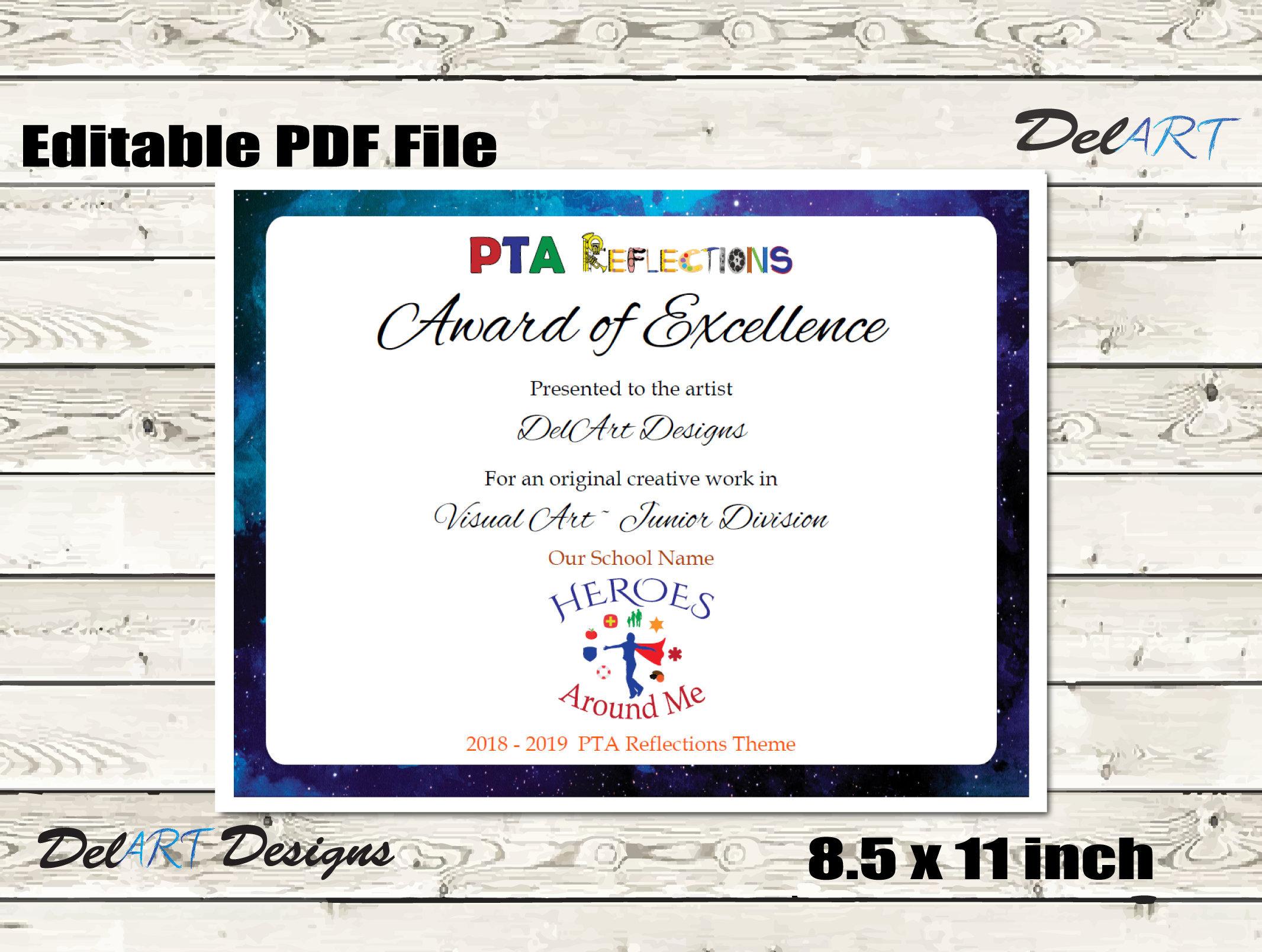 Pta Reflections Certificate 2018 2019 Digital Printable Pdf Etsy
