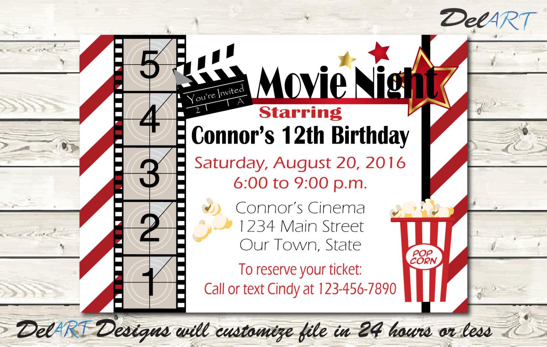 Movie Night Invitation Birthday Party School Get-together   Etsy
