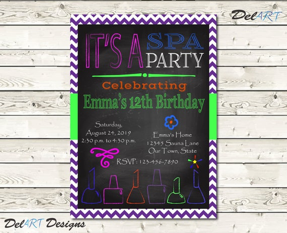 Spa Birthday Party Invitation Card Digital File 4 X 6 Or 5