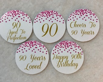 Set Of 50 100 150 200 Personalized 90th Birthday Party 1 Inch Circle Confetti