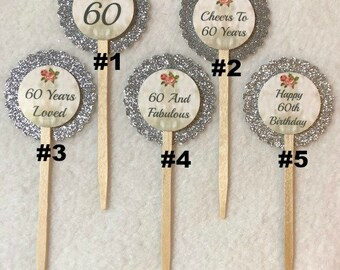 Set Of 12 Personalized 60th Birthday Party Cupcake Toppers (Your Choice Of 12)