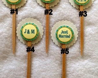 Set Of 12 Customized Wedding  Cupcake Toppers (Your Choice Of Any 12)