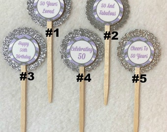 Set Of 12 Personalized 50th Birthday Party Cupcake Toppers (Your Choice of Any 12)