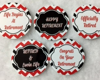 Set of 50/100/150/200 Personalized Retirement Red & Black 1 Inch Circle Confetti