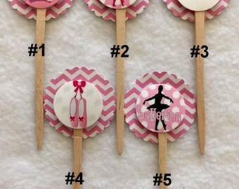 Set Of 12 Ballerina Cupcake Toppers (Your Choice Of Any 12)