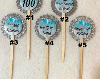 Set Of 12 Personalized 100th Birthday Party Cupcake Toppers (You Choice Of Any 12)