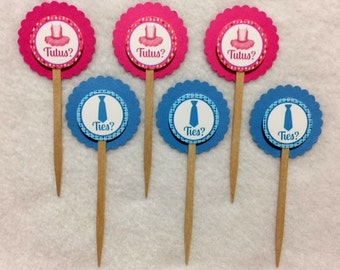 Set Of 12 Baby Shower Gender Reveal Ties or Tutus Cupcake Toppers (Your Choice Of Any 12)