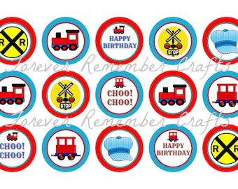 INSTANT DOWNLOAD Train & Railroad Birthday Party  Bottle Cap Image Sheets *Digital Image* 4x6 Sheet With 15 Images