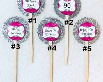 Set Of 12 Personalized 90th Birthday Party Cupcake Toppers (You Choice Of Any 12)