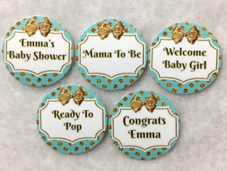 Set of 50100150200 Baby Shower Girl  Teal /& Gold 1 Inch Confetti Circles