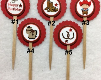 Set Of 12 Personalized Cowboy Cupcake Toppers (Your Choice Of 12)