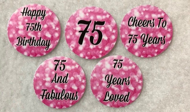 Set Of 50100150200 Personalized 75th Birthday Party  1 Inch Circle Confetti