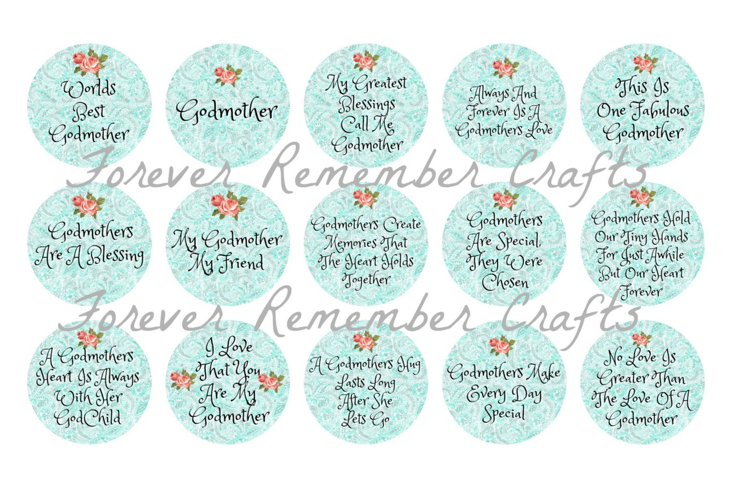 Godmother Quotes For Scrapbooking Quotesgram: INSTANT DOWNLOAD Godmother Quotes & Sayings 1 Inch Bottle