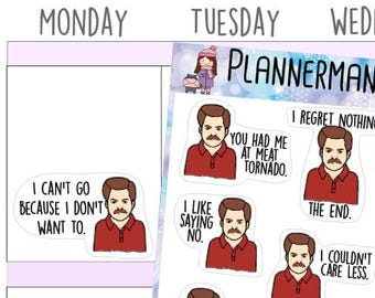 Hand Drawn Stickers, Ron Swanson, Funny Stickers, Planner Stickers, Parks n Rec - 305