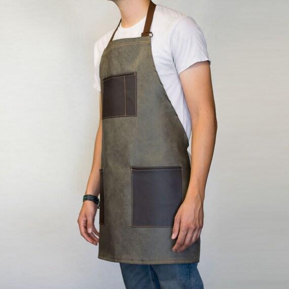 Olive Green Wax Denim Apron Pockets Woodwork Barber Barista Kitchen Handmade