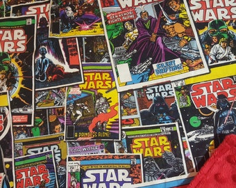 Star Wars Minky Blanket / Choose Size and Color / Comic Book Cover / Vintage Inspired / Baby Toddler Child Boy Girl Shower Gift Geek Nerd