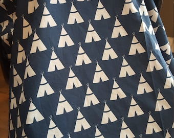 Tee pee Infant Carrier Cover With Peek-A -Boo Window / New Baby Boy Girl Shower Gift / Minky Car Seat Canopy Tent / Navy Blue Tribal Aztec