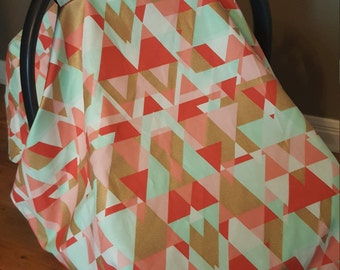 Tribal Geometric Triangles Custom Infant Carrier Cover Peek-A -Boo Window / Coral Mint Gold / Baby Girl Shower Gift / Car Seat Canopy Tent