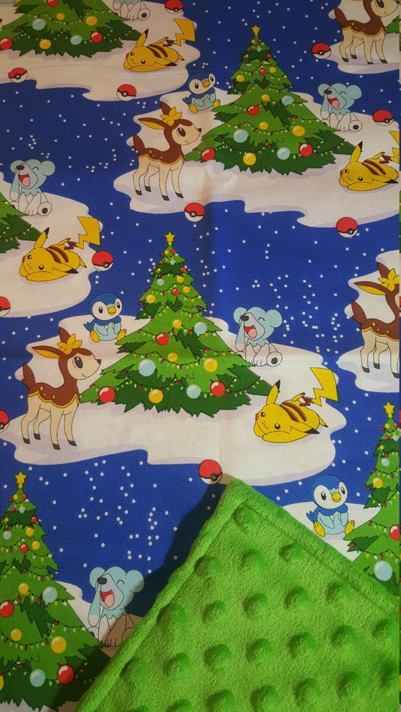 Pokemon Christmas.Pokemon Christmas Baby Blanket Choose Color Pikachu Piplup Deerling Cubchoo