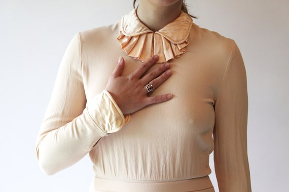 silk dress / light pink flesh-tone / Albert Nipon