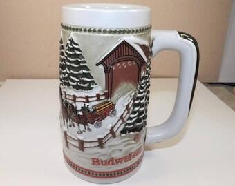 budweiser stein 1984 christmas stein cs62 holiday series ceramarte brazil breweriana full relief design beer collectibles - Budweiser Christmas Steins