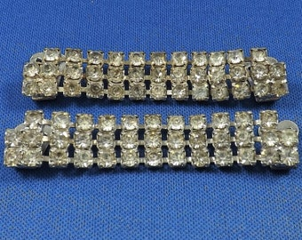 Rhinestone Shoe Clips, Clear Rhinestones, Prong Set Stones, Vintage Costume Jewelry, Estate Finds