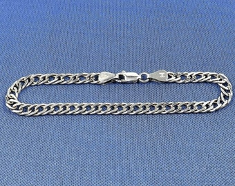 Sterling Silver Bracelet, double link style, Made in Italy, 925 Sterling Silver, 5.2 grams, Vintage Estate Jewelry, Collectible Jewelry