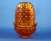 Fenton Fairy Lamp, Hobnail Amber Glass, Beautiful Orange Glass, 4 1 2 quot Tall, Fenton Collectible Glass, Home Decor Gift