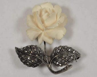 Silver & Marcasite Rose, Sterling Silver Brooch, molded celluloid Rose, Faux Ivory Look, Germany Brooch, Mid Century Vintage, Estate Jewelry