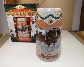 1996 budweiser christmas stein american homestead cs273 17th in holiday series made in brazil beer collectibles - Budweiser Christmas Steins