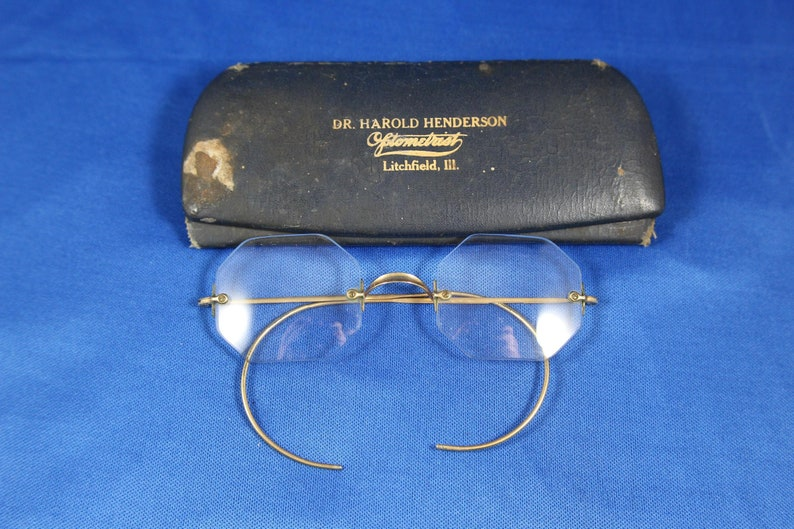 American Optical Bifocal Glasses Vintage Art Deco Eyewear Frameless Eye Glasses Marked 110 12k G.F. Antique Gold filled Glasses