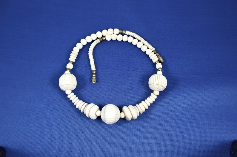 Bone Bead Necklace Large Statement Piece Carved Bone Tribal Etsy
