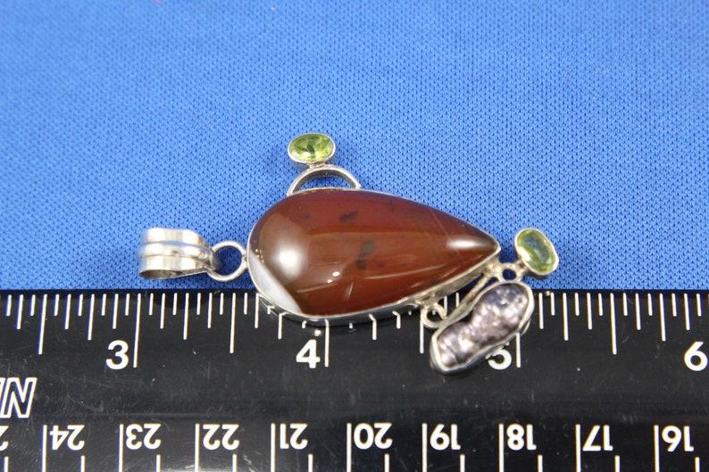 Fine Estate Jewelry Polished Agate Carnelian Jewelry Supplies Sterling /& Stone Pendant Peridot Freshwater Pearl Sterling Pendant