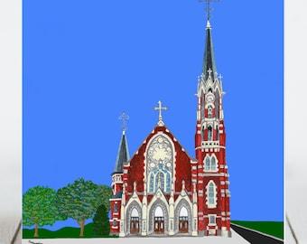 Ceramic Tile - Naperville, Illinois -  Saints Peter & Paul Catholic Church - Painting the Town Series - Ceramic Coaster