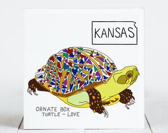 Ceramic Tile - Kansas - State Symbols - Ornate Box Turtle - Love(Map) - Ceramic Coaster - coaster - Decorative Artwork