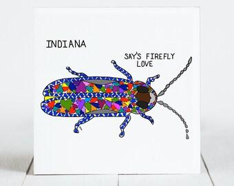 Ceramic Tile - Indiana - State Symbols - Say's Firefly - Love - Ceramic Coaster - coaster - Decorative Artwork