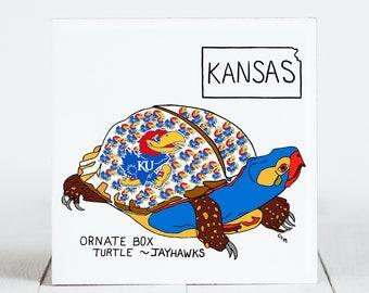 Ceramic Tile - Kansas - State Symbols - Ornate Box Turtle - College Sports(Map) - Ceramic Coaster - coaster - Decorative Artwork