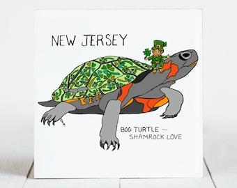 Ceramic Tile - New Jersey - State Symbols - Bog Turtle - Shamrock Love - Ceramic Coaster - coaster - Decorative Artwork