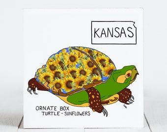 Ceramic Tile - Kansas - State Symbols - Ornate Box Turtle - Sunflowers - Ceramic Coaster - coaster - Decorative Artwork