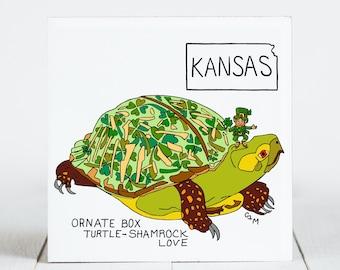 Ceramic Tile - Kansas - State Symbols - Ornate Box Turtle - Shamrock Love(Map) - Ceramic Coaster - coaster - Decorative Artwork