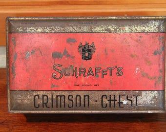 Tin Schrafft's Chocolates  Box hinged lid collectible storage display patina 1960s Valentine's Day Gift