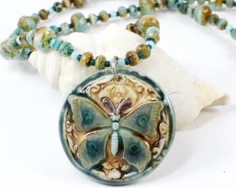 Butterfly Bead Necklace | Nature Pendant Necklace | Butterfly Bead Jewelry | One Of A Kind Jewelry | Solana Kai Designs | Portland Oregon