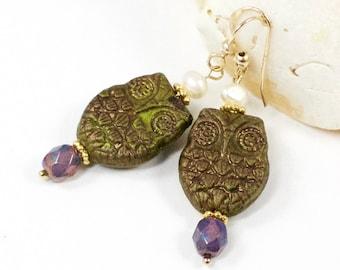 Owl Earrings, Green Owl Earrings, Green Gold Pearl Earrings, Owl Dangle Earrings, Solana Kai Designs, Pacific NW